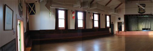 Band Hall inside: panorama